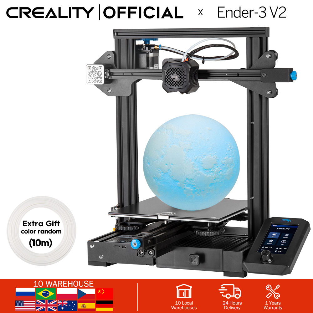 CREALITY 3D Ender-3 V2 Mainboard with silent TMC2208 stepper drivers 4 3 Inch Touch Lcd Carborundum Glass Bed 3D Printer