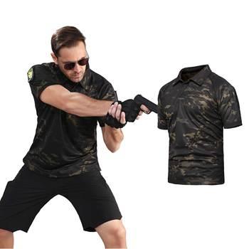 Bojowe 2019 woodland taktyczne koszula z krótkim rękawem koszula bojowa polowanie zamaskowane duży rozmiar armii człowieka koszulka 5xl połowów p-28 tanie i dobre opinie PAVEHAWK ply-28 polyester Outdoor sports camouflage t-shirt ACU AY CP HMW Black Army Green Khaki lapel S M L XL XXL 3XL 4XL 5XL