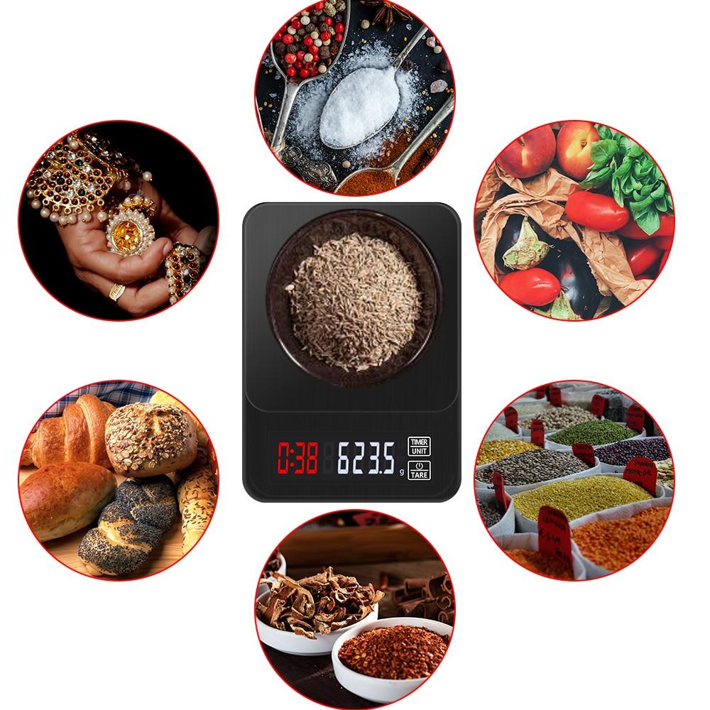 Цифровые Мини-весы 10 кг/0,1 г 5 кг/0,1 г 3 кг/0,1 г с таймером, высокоточные электронные ЖК-весы для ювелирных изделий, Скидка 40%-5