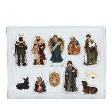 11 adet doğum sahnesi-el boyaması noel heykelcik DecorChristian kutsal aile figürü bebek İsa doğuş heykelcik sanat