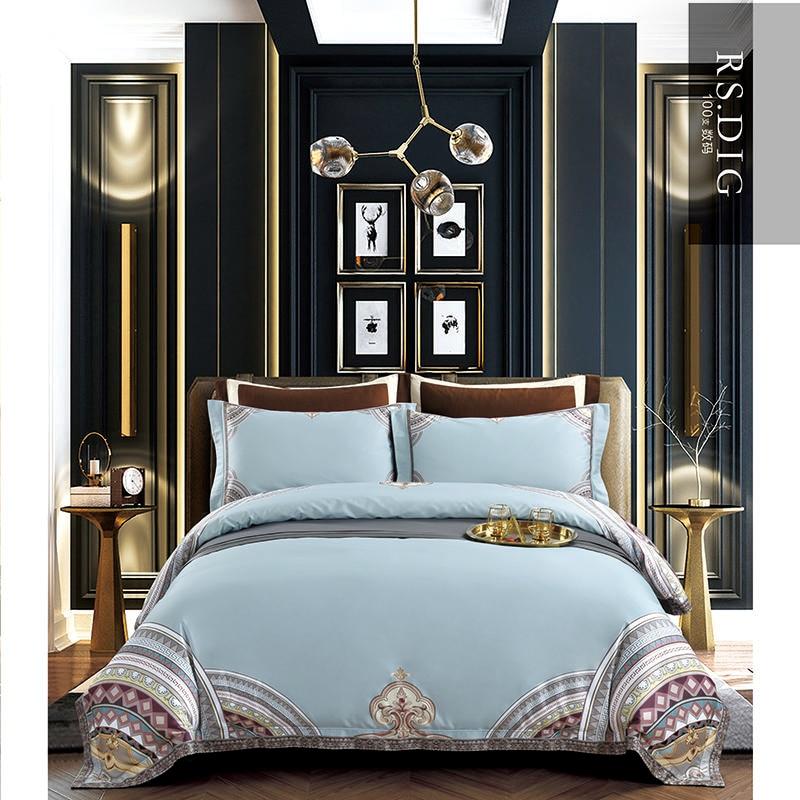 100S комплекты постельного белья высокой плотности, Роскошный домашний текстиль синего цвета, постельное белье из египетского хлопка, постел