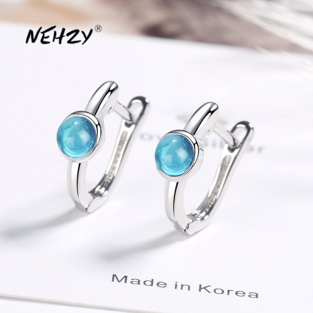 Nehzy 925 Sterling Silver New Woman Fashion Jewelry High Quality Earrings Blue Crystal Zircon Hot Selling Earrings Special Promo 72b5 Cicig
