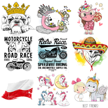 Iron on Unicorn Motorcycle Dog Patches Clothing Decor Application Flag Heat Transfer Stickers Badges DIY T-shirt Appliques PVC E