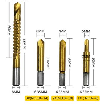 цена на 4Pcs Titanium Coated Twist Sawtooth Drill Bit For Cutting Metal Wood High Speed Steel Saw Drill Power Tool Accessories