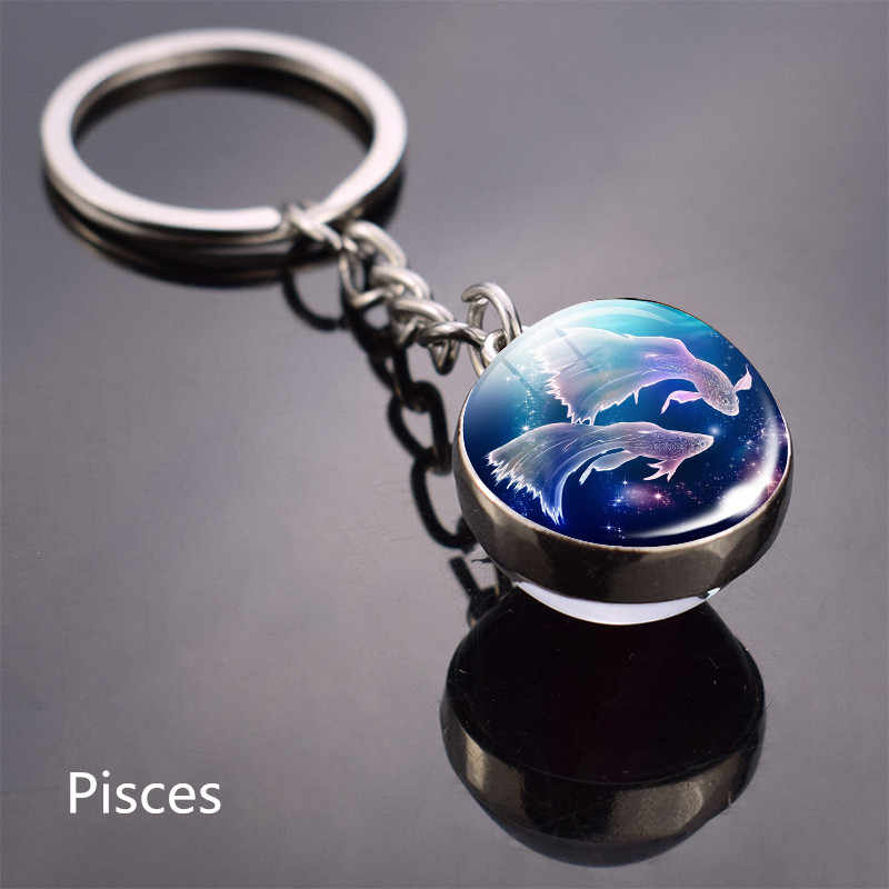 للجنسين 12 كوكبة المفاتيح المجال ميدالية مفاتيح كريستال خواتم العقرب الدلو ليو الحمل كوكبة هدايا عيد مجوهرات
