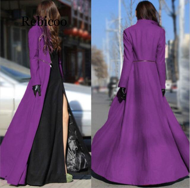 Women Wool Blends Autumn And Winter Large Size Goddess Slim Big Swing Split Ends Mopping Long Section Wool Woolen Cloth Coat