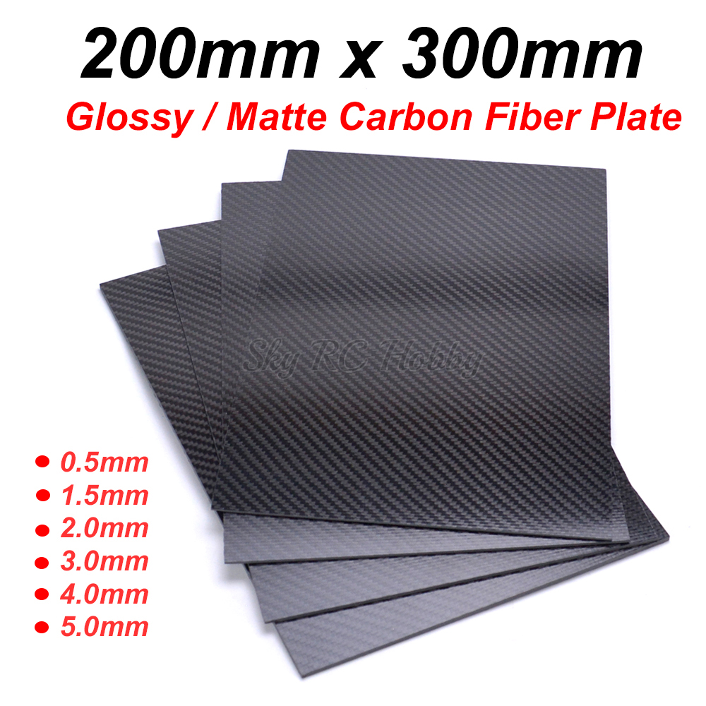 200mm X 300mm 0.5mm 1mm 1.5mm 2mm 3mm 4mm 5mm Carbon Plate Panel Sheets High Composite Hardness Material Carbon Fiber Board