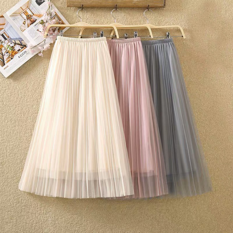 Lucyever Elastic High Waist Women Tulle Skirt Fashion Spring Summer Ladies Mesh Long Skirt Elegant A Line Girls Korean Faldas