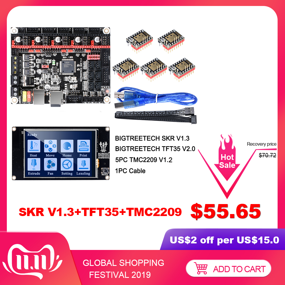 BIGTREETECH SKR V1.3 Control Board 32Bit Smoothieboard+TMC2209 V1.2 UART+TFT35 V2.0 3D Printer Parts vs tmc2208 tmc2130 MKS Gen-in 3D Printer Parts & Accessories from Computer & Office