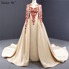 Высокое качество, вечерние платья цвета шампанского с круглым вырезом, 2020, бисероплетение, блестки, атлас, длинные рукава, торжественное платье, HM67047