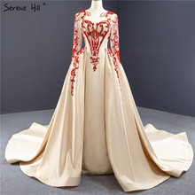 High Quality Champagne O Neck Evening Dresses 2020 Beading Sequins Satin Long Sleeves Formal Dress HM67047