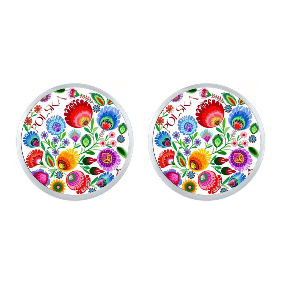 Polish Folk Art Patterns Stud Earring Fashion Jewelry Modern Paper Cutting Element Flower Jewelry For Women Girls Gift