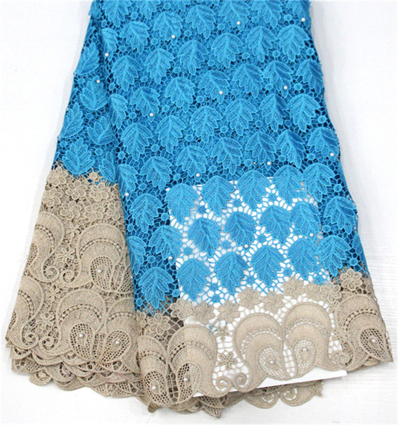 5 Yards African Cord Lace Unique Design Guipure Lace Fabric Water Soluble Lace With Stones For Fashion Dress SR-01