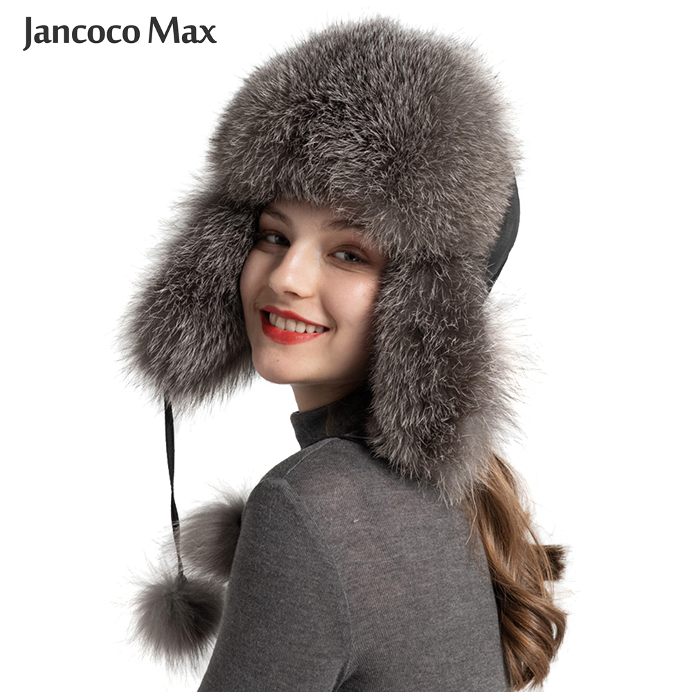 Winter Keep Warm Women's Real Fur Hat Fashion Ushanka Hat Natural Fox Fur Earmuffs Bomber Hat S7147B