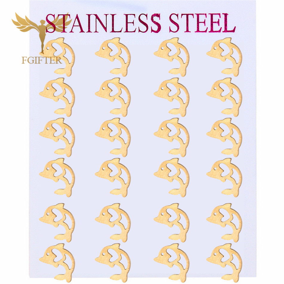Cute Girls Kids Dolphin Earrings Set Wholesale Hollow Dolphin Design Stainless Steel Stus Kids Jewellery 12 Paris Sets