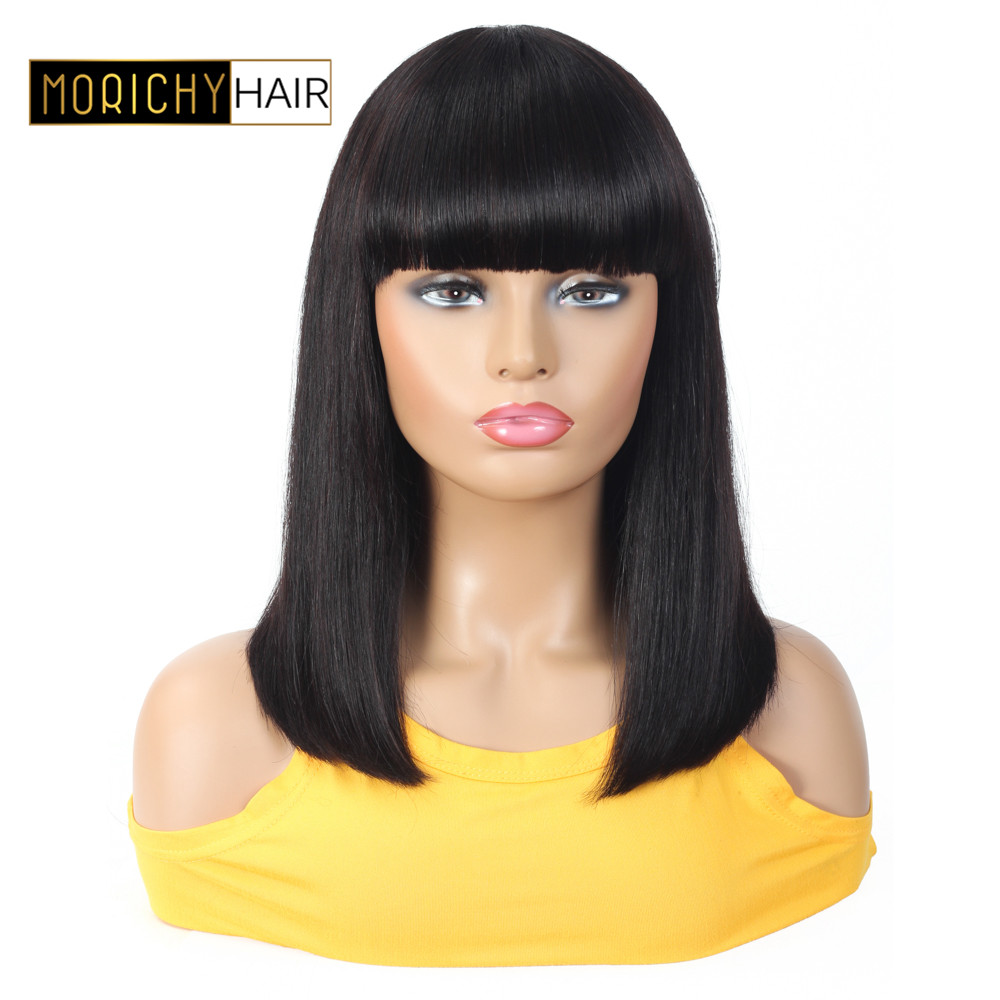 Morichy Bob Straight Human Hair Wigs Short Wigs With Bangs Brazilian Non Remy Hair Wigs For Women Natural Black Color