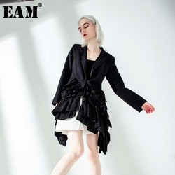 [EAM]  Women Black Ruffles Irregular Blazer New Lapel Long Sleeve Loose Fit  Jacket Fashion Tide Spring Autumn 2020 JQ77501