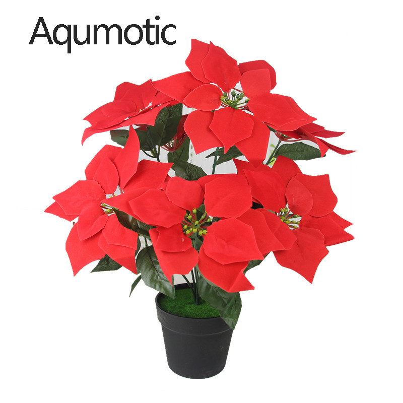 Aqumotic Besar Pot Merah Bunga Kecantikan Palsu Tanaman Pot Putih Anthurium Poinsettia Bunga Tanaman Sekitar 55cm Outdoor Tanaman Buatan Aliexpress
