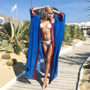 Image 3 - Plus Größe Bestickt Sommer Beachwear Chiffon Kaftan Strand Frau Tunika Bad Kleid Robe plage Schwimmen Wear Cover Up # Q1038
