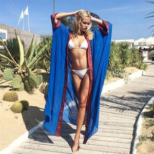 Image 3 - Plus Size Embroidered Summer Beachwear Chiffon Kaftan Beach Woman Tunic Bath Dress Robe plage Swim Wear Cover Up #Q1038