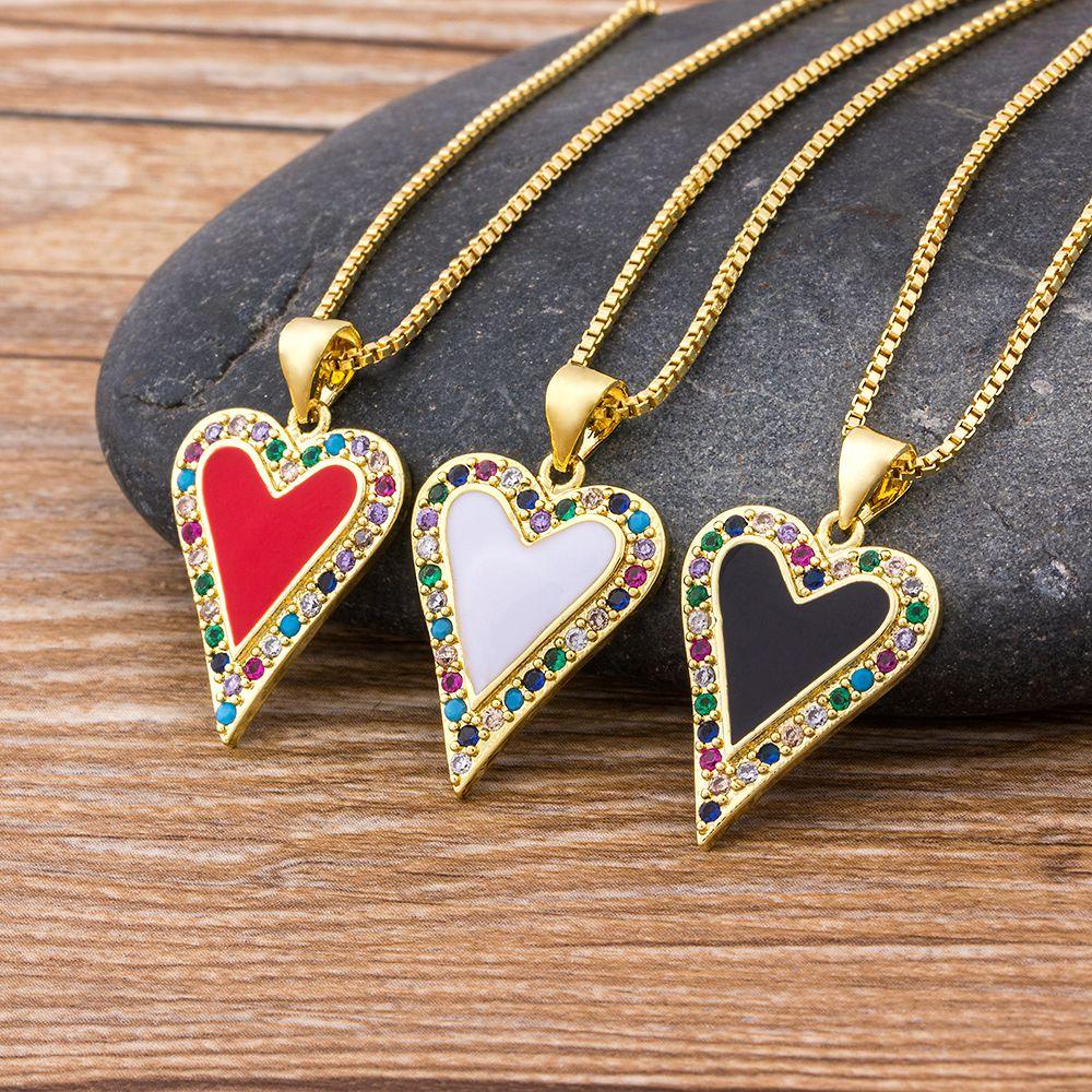 Klassische Herz Anhänger Halsketten Frauen Männer Hip Hop Schmuck Rot/Schwarz/Weiß Farbe Enthalten Kette Strass Halskette Geschenke