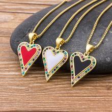 Collares con colgante de corazón clásico para hombre y mujer, joyería de Hip Hop, Color rojo/Negro/Blanco, incluye Cadena de diamantes de imitación, regalos