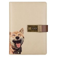 Travel Notebook with Combination Lock Faux Leather Animals Diary Journal Notepad L9BA secret notebook ruled journal lined diary with lock creative gift heart lock