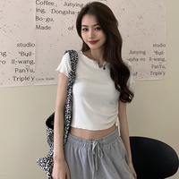 BM-Top corto para mujer, Camiseta ajustada de manga corta blanca con cordón, moda Ins finos