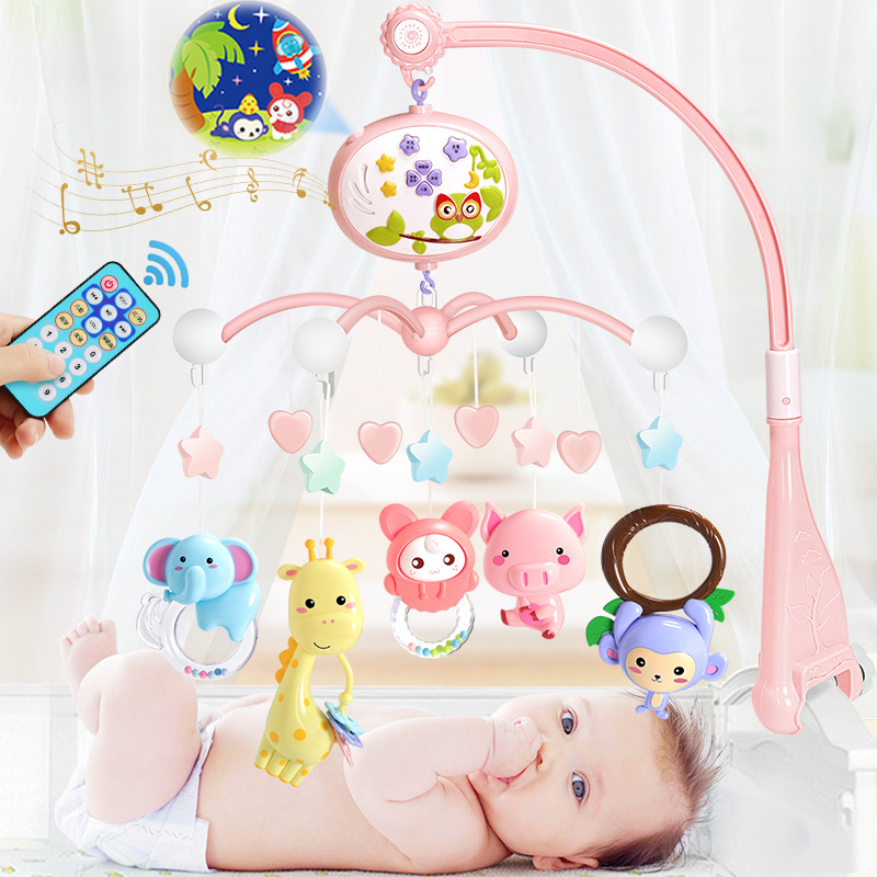 Battery Baby Crib Mobiles Rattles Toy Bell Carousel Projection For Infant Baby