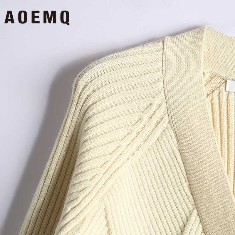AOEMQ Hand Gefertigt Pullover Weihnachten Präsentieren Cardigan Öffnen Stich Winter Pullover Beige Solide Outwear Pullover Frauen Kleidung