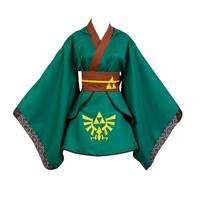 Anime The legend of Zelda Hero Link Cosplay Costume Yukata Kimono Robe Green Version Full Sets Halloween carnival dress