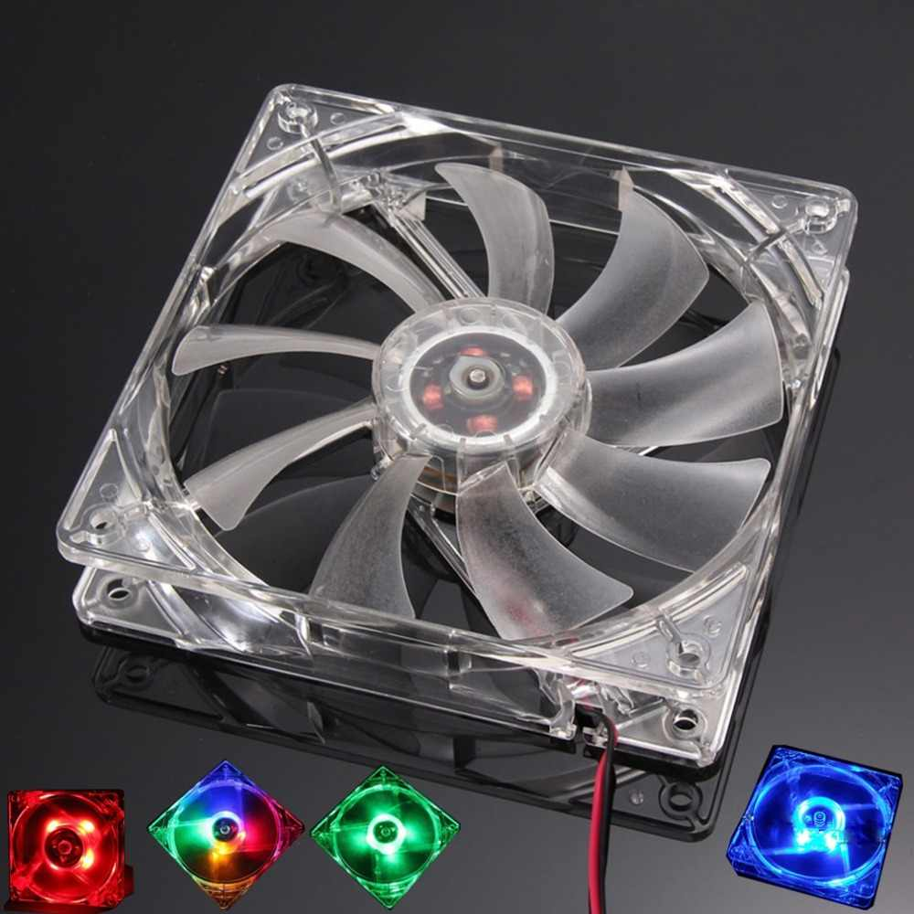 Komputer PC Fan Quad 4 LED Light 120 Mm Komputer PC Kasus 12V Kipas Pendingin MOD Tenang Konektor Molex mudah Dipasang Fan Warna-warni