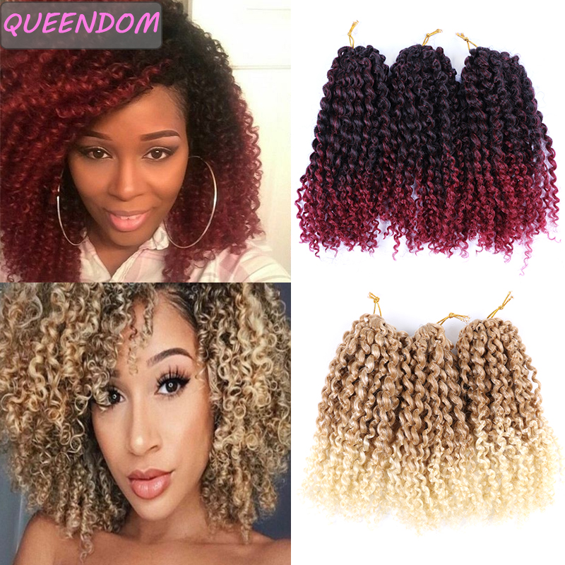 Ombre Afro Kinky Curly Crochet Braids Marlybob Jerry Curl Jamaican Hair 3pcs/pack 8