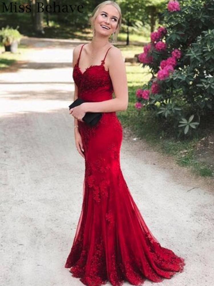 DD JYOY Elegant Mermaid Evening Dress Long 2020 Real Image Lace Formal Women Evening Gown with Small Train Open Back