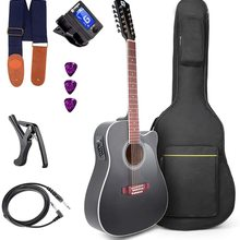 12-Strings Guitar Acoustic Electric Cutaway Black Vangoa EQ Beginner with 41inch 4-Band