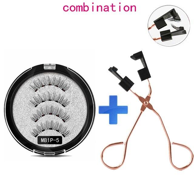MB Magnetic Eyelashes with 5 Magnets Handmade Reusable 3D Mink False Eyelashes for Makeup faux cils magnetique naturel Tweezers 1