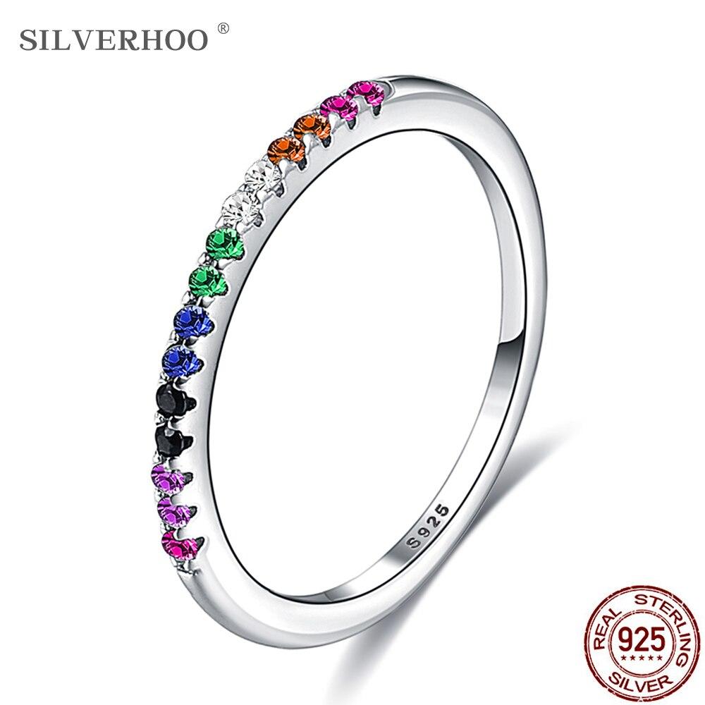 Silverhoo prata esterlina arco-íris cor anéis de dedo para mulher empilhável completa redonda zircão presente de casamento quente 925 jóias à venda