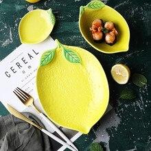 2 pcs cute lemon breakfast creative dessert bowl ceramic fruit plate Japanese household ceramica tableware dinner set porcelain