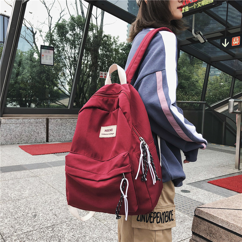 HOCODO Solid Color Waterproof Nylon Women Backpack Fashion Travel Backpack For Teenage Girls Schoolbag Female Shoulder Bags Book