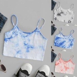 New Fashion Women Sexy Tie-dye Crop Tops Summer Camis Women Casual Tank Tops Vest Sleeveless Crop Tops blusas @CE