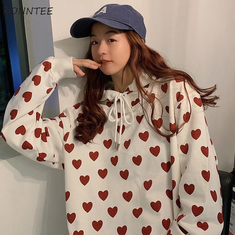 Hoodies Women Printed Soft Womens Sweatshirts Chic Hooded Korean Style Ulzzang Oversize Student Ulzzang Girl Pullover Leisure