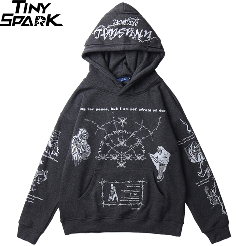 2019 Hip Hop Hoodie Sweatshirt Men Streetwear Skull Graffiti Print Hoodie Pullover Cotton Autumn Grey Harajuku Punk Clothes New