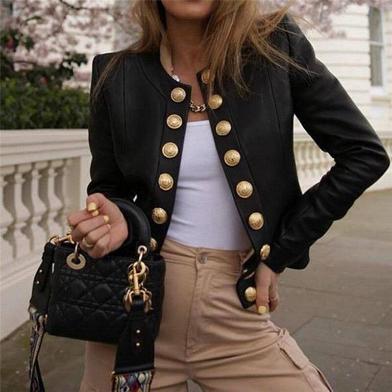 Женский блейзер на пуговицах с длинным рукавом, куртка, пальто, верхняя одежда, короткое пальто, байкерские повседневные топы, блейзер с дли...