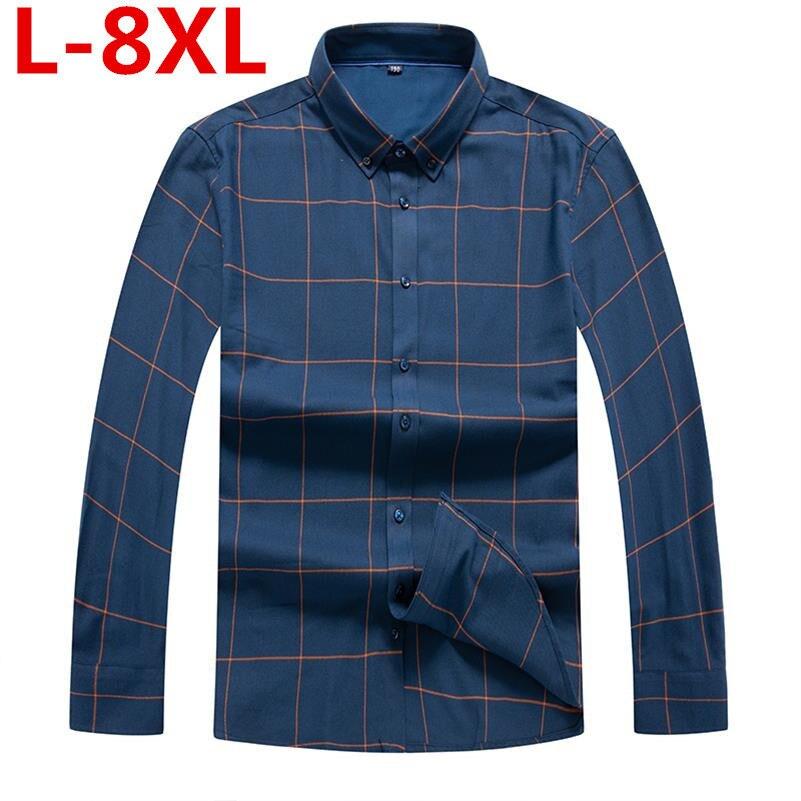 Plus Size 8XL 7XL 6XL  Mens Business Casual Long Sleeves Shirt Men Shirt Classic Plaid Male Social Dress Shirts Outwear