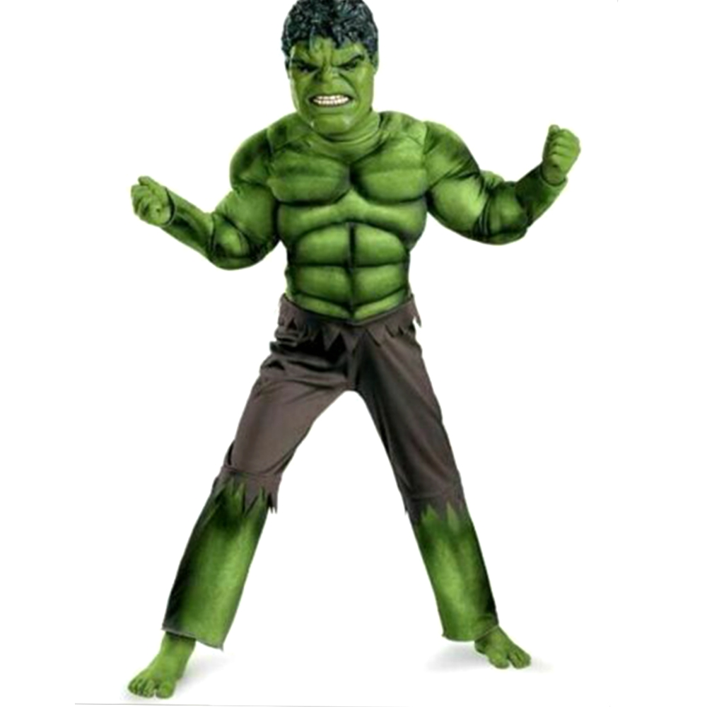 Incredible Hulk Costume Avengers Child Muscle Green Hulk Outfit Jumpsuit Halloween New Year Carnival Cosplay For Kids Boys