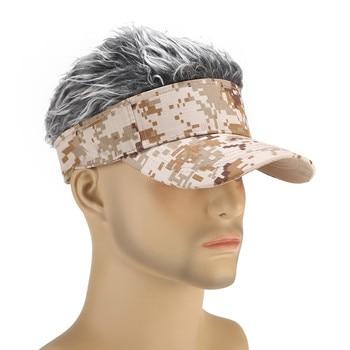 Gorra de camuflaje con peluca divertida Unisex, visera de pelo falso, gorras de Golf al aire libre informales, gorra de béisbol con peluca, gorro de calle para padres e hijos # p5