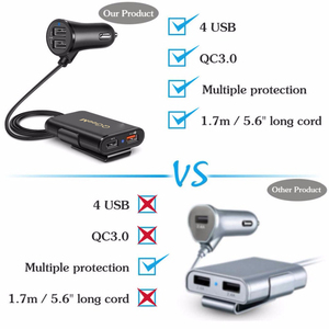 Image 5 - QGEEM 4 USB QC 3.0 Car Charger Quick Charge 3.0 Phone Car Fast Front Back Charger Adapter Car Portable Charger Plug for iPhone