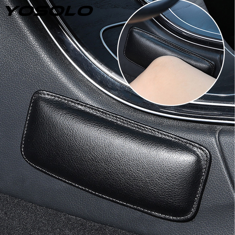 YOSOLO Car Interior Knee Pad Thigh Support PU Leather Elastic Cushion Memory Foam 18X8cm Comfortable Auto Accessories