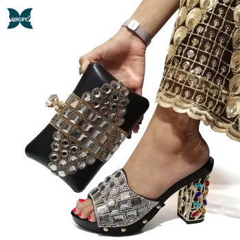 2019 Lastest Fashion Italian Design African Ladies Shoes and Bags To Match Set with Rhinestone Nigerian Wedding Party