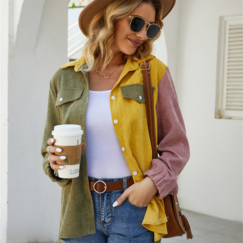 Casual Contrast Color Blouse Women Pocket Stand Collar Long Sleeve Corduroy Shirt Ladies Fashion Tops Clothes Blusa Feminina contrast color pocket dress